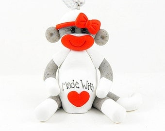 Sock Monkey Mommy To Be Christmas Ornament Polymer Clay