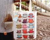 Teacups Tote Bag, Ethically Produced Reusable Shopper Bag, Cotton Tote, Shopping Bag, Eco Tote Bag