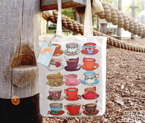 Teacups Tote Bag, Ethically Produced Reusable Shopper Bag, Cotton Tote, Shopping Bag, Eco Tote Bag