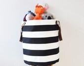 XXLarge Round Laundry Hamper, Laundry Basket, Toy Storage, Nursery Fabric Basket, Storage Bin, Toy Basket, Nursery Storage, Black & White