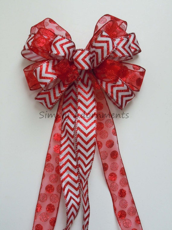 Red White Christmas Wreath Bow Red White Tree Topper Bow Chevron Polka Dots Valentine Wreath Bow Red White Wedding Pew Bow Chevron Gift Bow