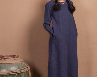 Navy Blue Maxi Blouse Dress; Longsleeve Winter Tunic Dress; Long shirt Dress