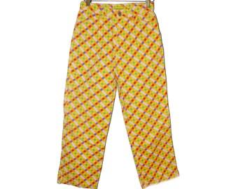 Amazing Mondrian / block print yellow high waist skinny jeans / denim / pants vintage crops La pagayo / Holland 0 2 26 24 xs