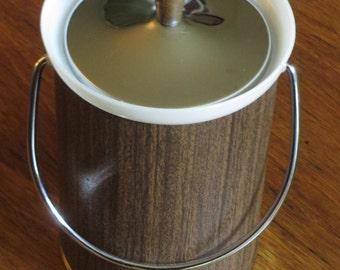 Mid Century Faux Wood Ice Bucket
