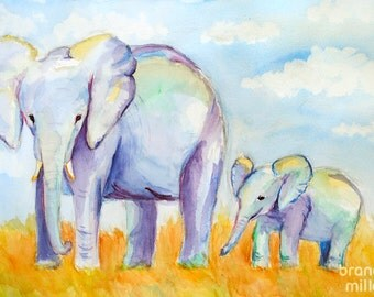 Elephants: Watercolor Painting Print, Elephant and Baby on African Landscape