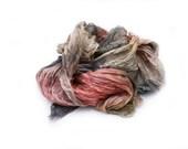grey silk scarf - Beauty Note -  brown, grey, peach, pink silk scarf.