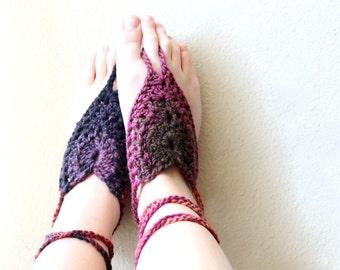 Color Burst Bohemian Barefoot Sandals. Hand Crocheted Soleless Sandals. Unique Multi Color Beach Wear. More Colors.