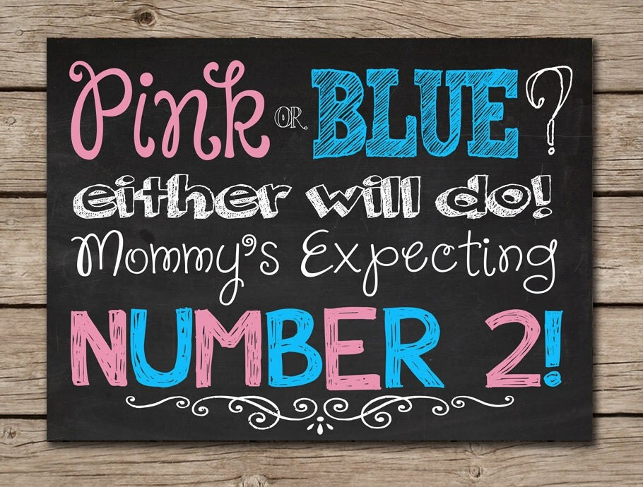 Printable Chalkboard Pregnancy Announcement Sign Digital File