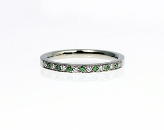 Green diamond ring, wedding band, white gold, yellow gold, rose gold, diamond wedding ring, half eternity, unique, green wedding, thin ring
