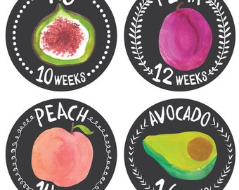 Pregnancy Stickers - Belly Bump Stickers - Weekly Pregnancy Stickers - Belly Growth Stickers - Pregnancy Photo Props - Growing Garden