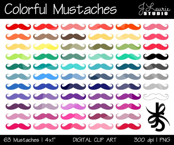 Digital Clipart Mustaches-Colorful Mustaches-Bright