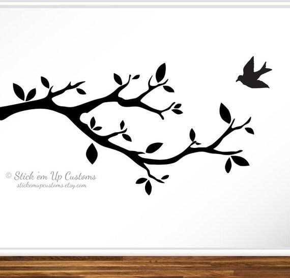 Tree Bird Branch Vinyl Wall Decal Sticker Leaves Modern