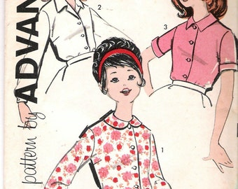 """Vintage 1960's  Advance 9905 Girl's Blouse Three Versions Sewing Pattern Size 8 Breast 26"""" UNCUT"""