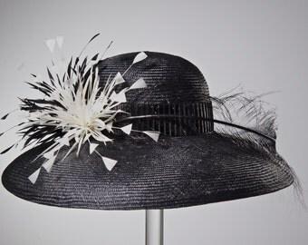 WIDE BRIM Kentucky Derby Hat, Women's Straw Black Hat, Black and White Hat Wide Brim