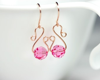 Rose Gold Pink Swarovski Earrings Wire Wrapped Jewelry Handmade Rose Gold Earrings Rose Gold Jewelry Swarovski Crystal Jewelry