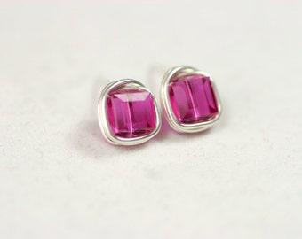 Fuchsia Swarovski Crystal Earrings Wire Wrapped Jewelry Sterling Silver Stud Earrings Swarovski Crystal Necklace and Earrings Set