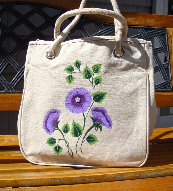 Hand Painted Tote Bag With Purple Flowers With Beaded Centers, Mothers Day Gift, Unique Gift Ideas, Overnight Bag, Beaded Bag