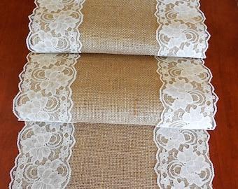 Burlap table runner wedding table runner burlap lace wedding decor rustic wedding  bridal shower