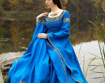 """DISCOUNTED PRICE! Blue Dress """"Lady of the Lake"""" medieval dress; linen dress; ice blue dress; cobalt blue dress"""