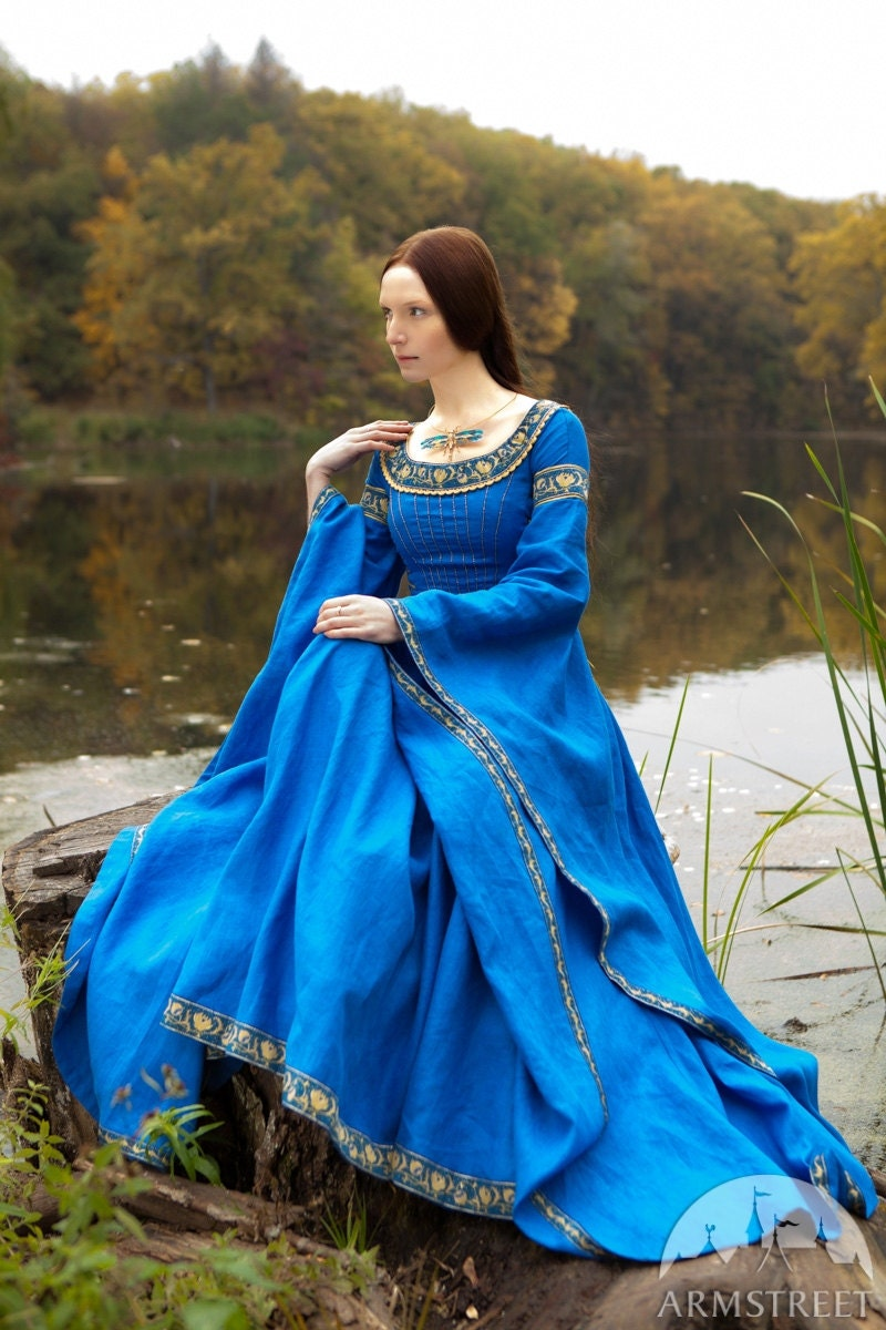 Blue Dress Lady Of The Lake Medieval Dress Linen