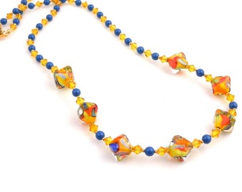 Custom Tropical Colors Beaded Necklace, Lampwork Necklace, Beadwork Necklace, Summer Jewelry, Gifts, Glass Bead Necklace, Fashion Jewelry