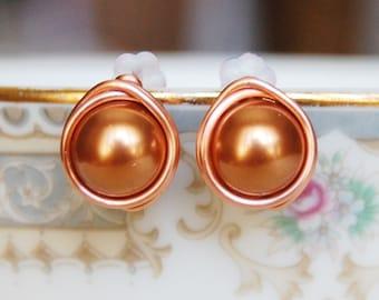 Copper Stud Earrings , Bridesmaid Earrings , Copper Pearl Earrings , Fall Earrings