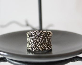Oxidized Wire Wrapped Sterling Silver Ring
