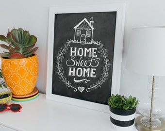 Home Sweet Home Print  Chalkboard Art  Home Sweet Home Art  Chalk