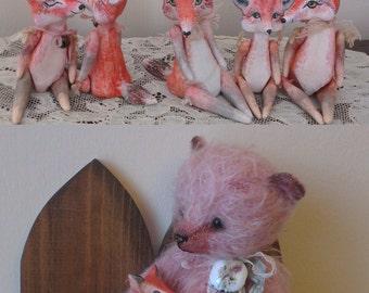 One Of A Kind Miniature Primitive Folk Fox Art Doll