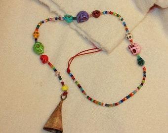 Beaded String of Bells - Colorful Skull Beads