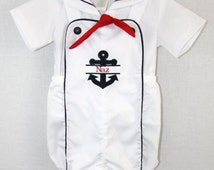 291969 - Baby Boy Sunsuit - Baby Boy Clothes - Baby Boy Nautical Clothes - Baby Boy Nautical Outfit - Twin Babies - Baby Sailor Outfit