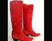 Vintage Suede Mod Red ESCADA Italian Leather boots size 6.5