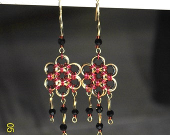 Handcrafted Chainmaille Flower Dangle Earrings, Gold, Black, Red Pierced Chainmail Earrings