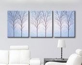 SALE Wall Art Canvas Tree Original Painting Wall Decor Art Set of 3 piece Large Paintings Home Decor Wall Hangings Trees Light Blue 48x20