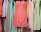 Coral Bridesmaid Dress, A-line Sweetheart Short Chiffon Bridesmaid Dress