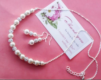 Choose your Color  - Bridesmaid gift - Pearl Jewelry set with Necklace and Earrings