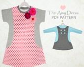 Girls Dress pattern pdf, tshirt dress pattern, childrens sewing pattern pdf, stretch pattern, girls sewing pattern, AMY