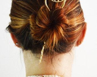 Day Dream Hoop Hair Stick, Hair Stick, Silver Hair Stick, Bun Holder, Metal Hair Accessory, white brass, sale, Hair Jewelry