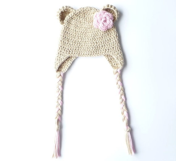 Crochet Baby Hat Bear Ears Pattern : Crochet Bear Ear Flap Hat Pattern Crochet Pattern Newborn Bear