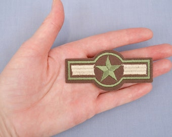 Iron-On Military Style Patch Star and Bars Green and Brown