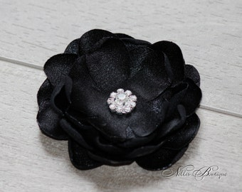 Black Rhinestone Fabric Flower Hair Clip