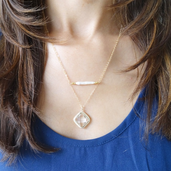 Freshwater Pearl Bar and Gold Framed Glass Pendant Layer Necklace