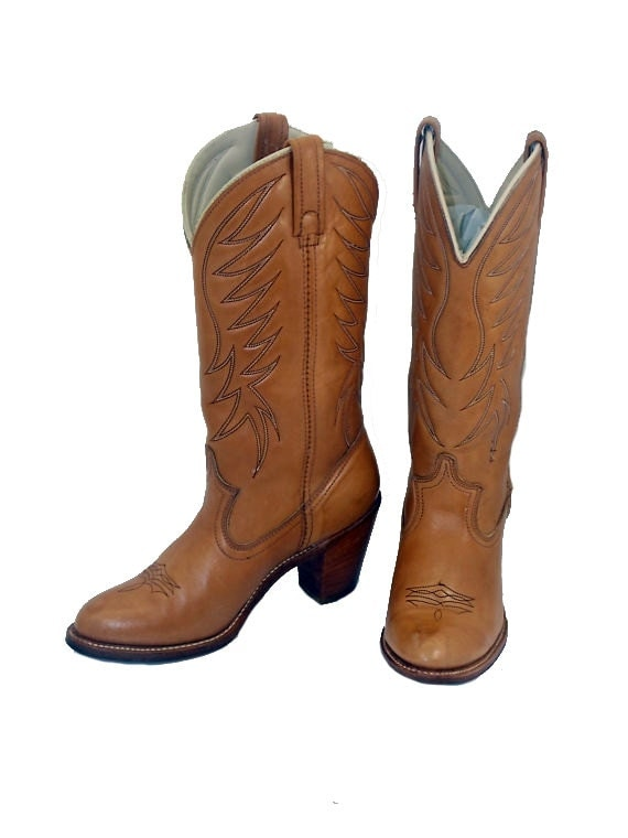 womens size 7 acme high heel cowboy boots by rubesrelics