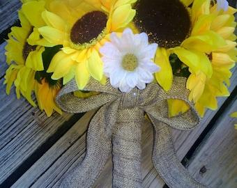2 piece Sunflower Bouquet Yellow Sunflower Wedding Bouquet Set, Bridal Bouquet, Sunflower Burlap Bouquet, Daisy Bouquet, Yellow Bouquet