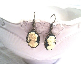 Cameo Earrings - Cameo Jewelry - Victorian Jewelry - Downton Abbey Estate Style Jewelry Gift for Her - BLACK AND IVORY