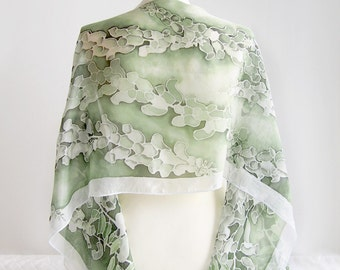 Painted scarf FOXGLOVE scarves hand painted silk scarf - green scarf - flower scarf - long scarf foxglove white digitalis scarf