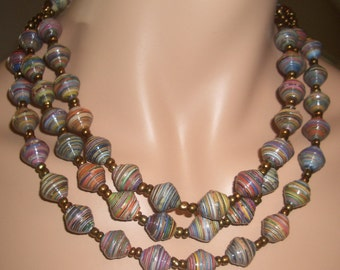 Multicolored Chunky Paper Bead 3-Strand Necklace
