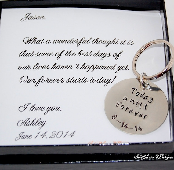 Wedding Day Gift Groom : to GROOM gift on wedding day, from Bride, Grooms keychain, wedding day ...