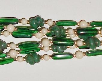 Vintage necklace, a 1950s Art Bead necklace long vintage jade acrylics HONG KONG Free USA Shipping