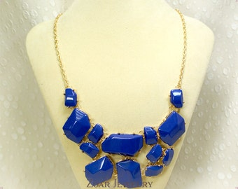 NEW Royal Blue Bubble Necklace, Handmade Bib Necklace, Statement Necklace